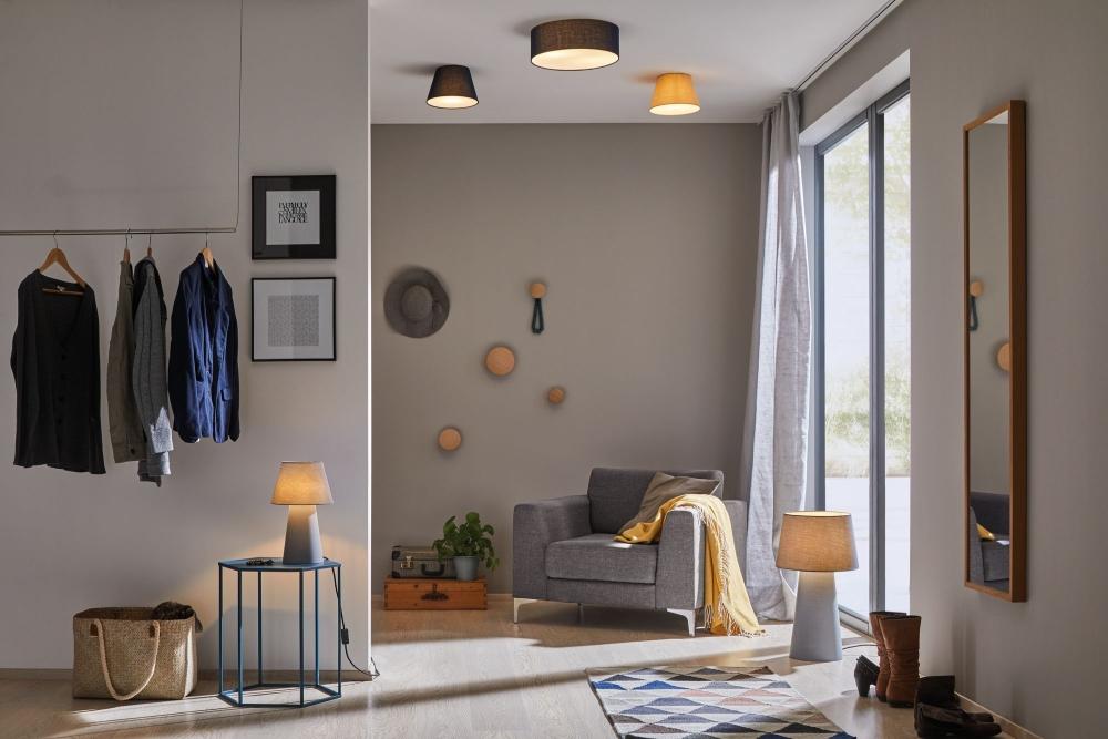 paulmann 70951 deckenleuchte mari 2 flammig blau mit stoffschirm durchmesser 38cm stm. Black Bedroom Furniture Sets. Home Design Ideas