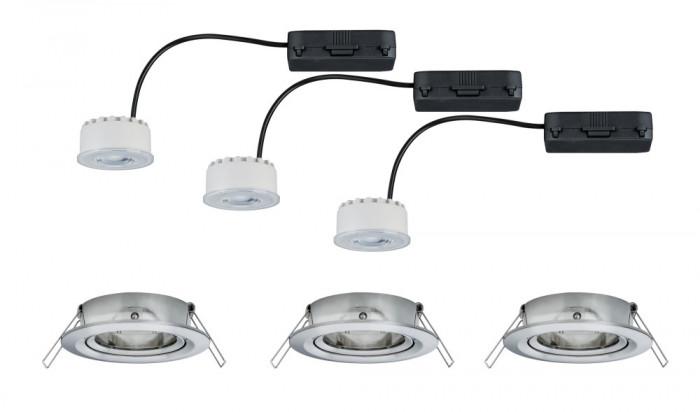 paulmann 93944 einbauleuchte led reflector coin 6 8w eisen 3er set dimmbar und schwenkbar stm. Black Bedroom Furniture Sets. Home Design Ideas