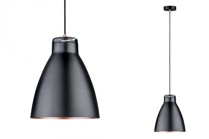 paulmann 79609 pendelleuchte neordic roald 1xe27 schwarz kupfer marmor stm. Black Bedroom Furniture Sets. Home Design Ideas