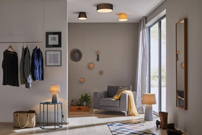 paulmann 79734 tischleuchte kelt mit stoffschirm und fu grau. Black Bedroom Furniture Sets. Home Design Ideas