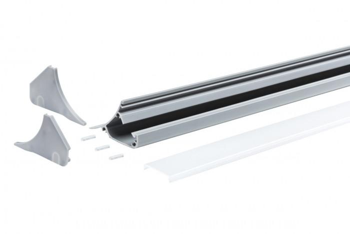 paulmann 70439 corner profil 200 cm grau kunststoff stm. Black Bedroom Furniture Sets. Home Design Ideas